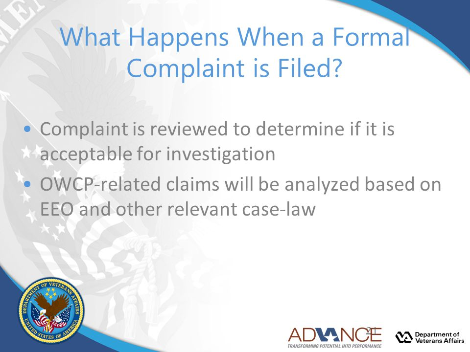 What Happens When a Formal Complaint is Filed