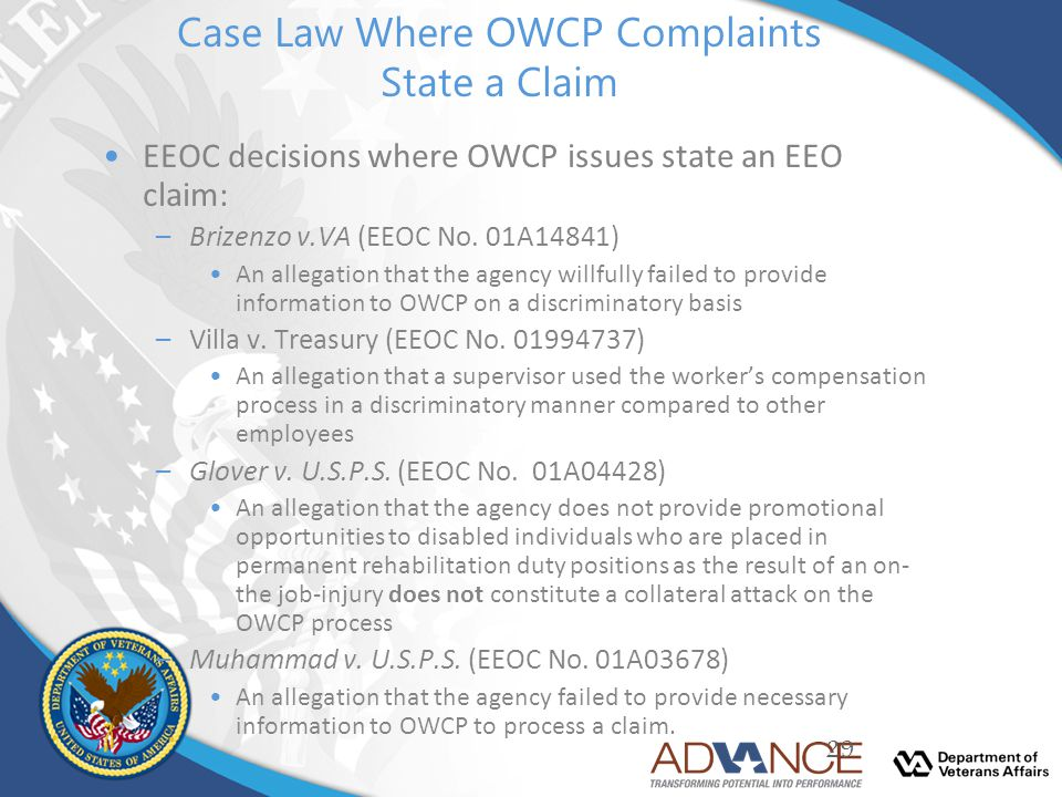 Case Law Where OWCP Complaints State a Claim