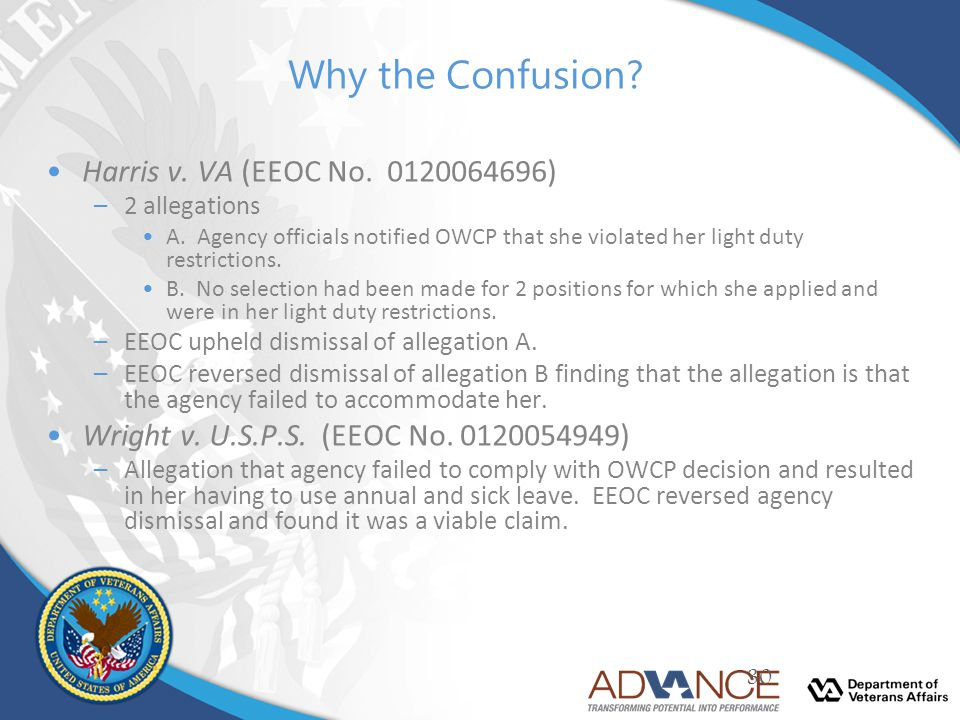 Why the Confusion Harris v. VA (EEOC No. 0120064696)