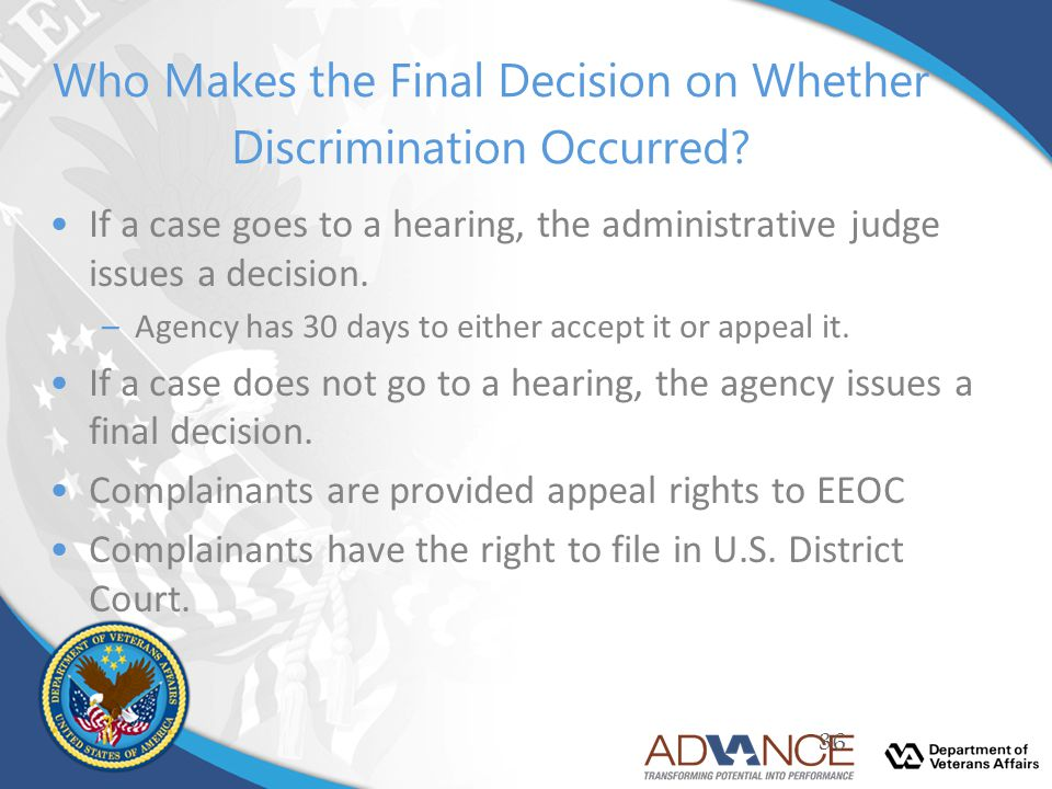 Who Makes the Final Decision on Whether Discrimination Occurred
