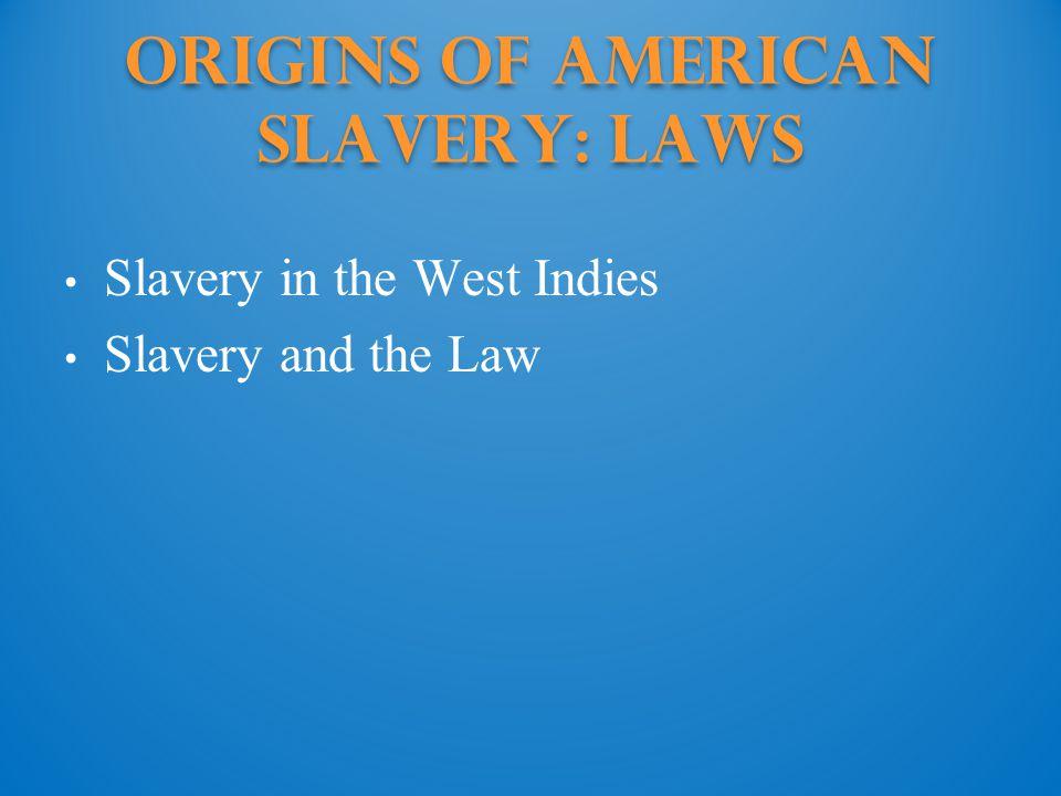 Origins of American Slavery: Laws