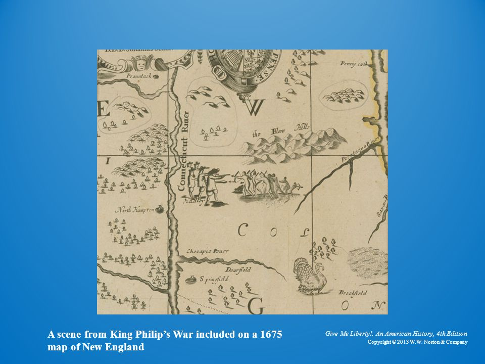 King Philip's War A scene from King Philip's War included on a 1675