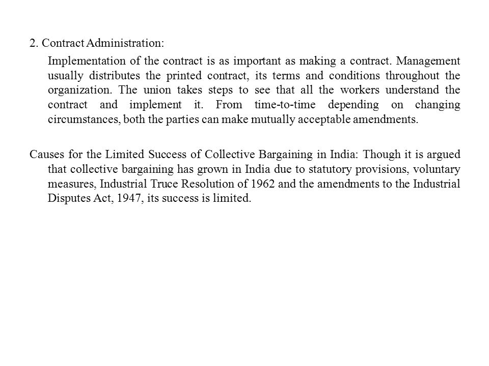 2. Contract Administration: