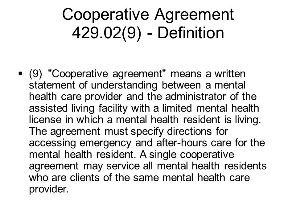 Cooperative Agreement 429.02(9) - Definition