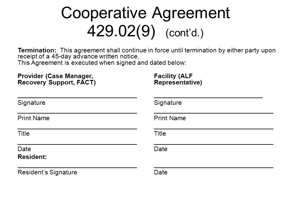 Cooperative Agreement 429.02(9) (cont'd.)