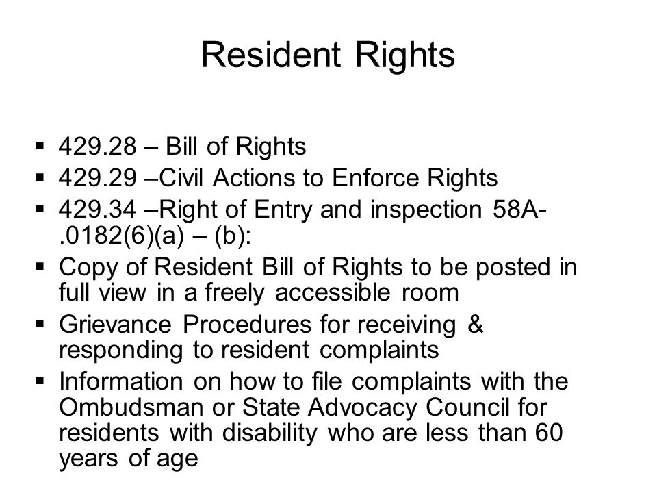 Resident Rights 429.28 – Bill of Rights