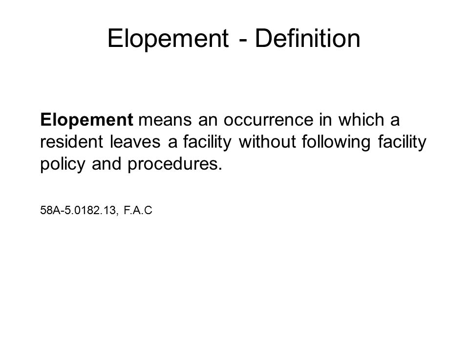 Elopement - Definition