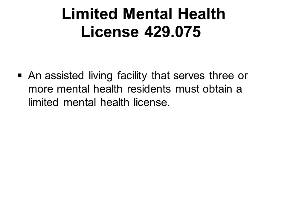 Limited Mental Health License 429.075
