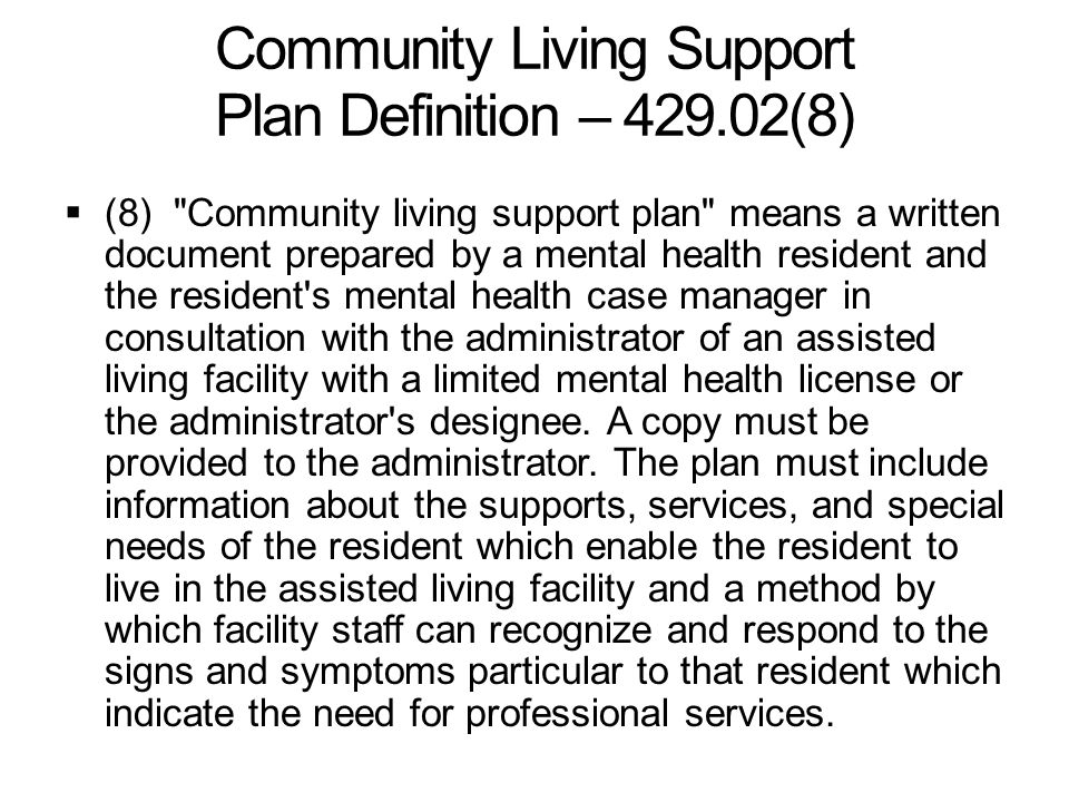 Community Living Support Plan Definition – 429.02(8)