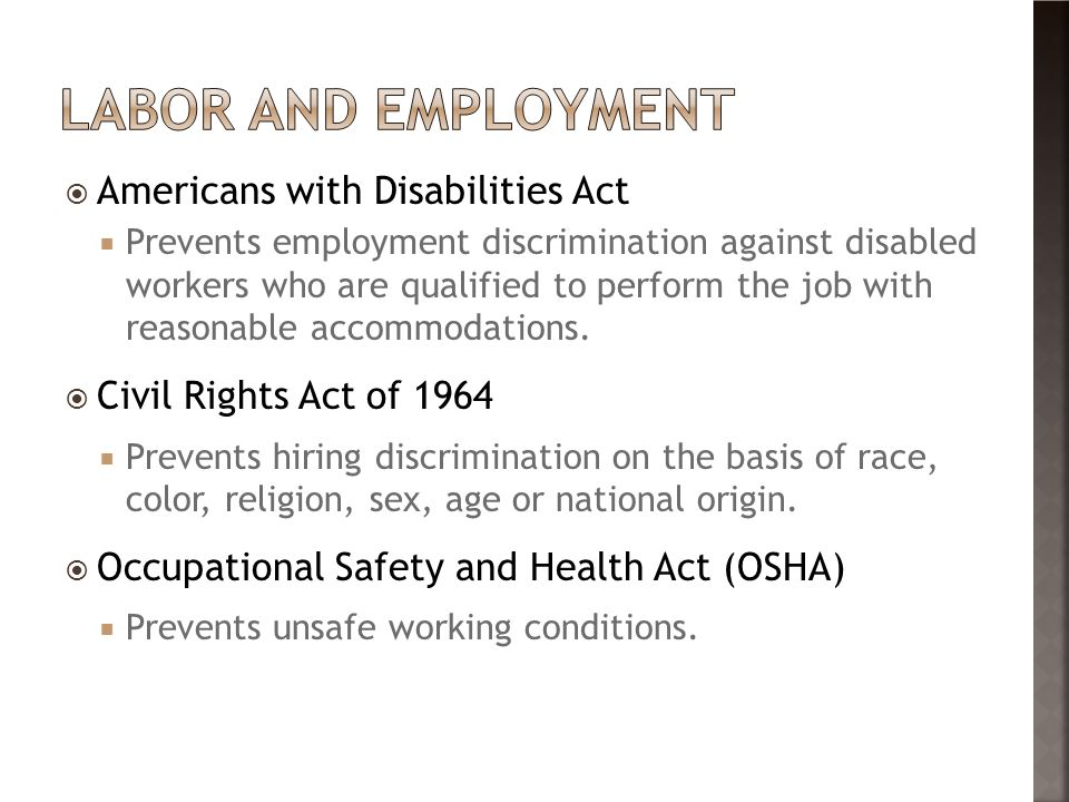 Labor and employment Americans with Disabilities Act