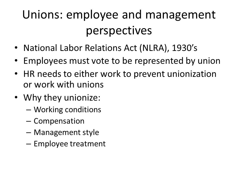 Unions: employee and management perspectives
