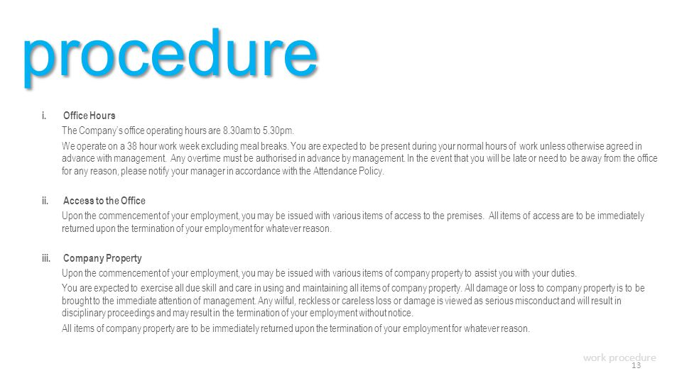 procedure work procedure Office Hours