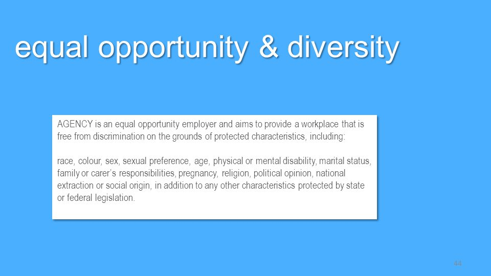 equal opportunity & diversity