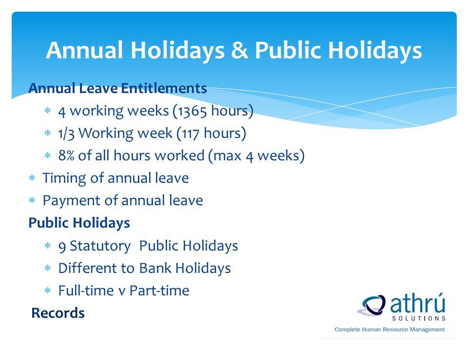 Annual Holidays & Public Holidays