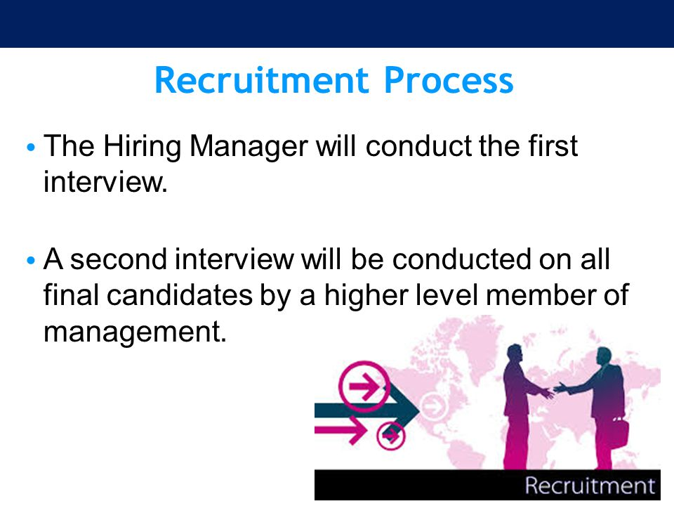Recruitment Process The Hiring Manager will conduct the first interview.