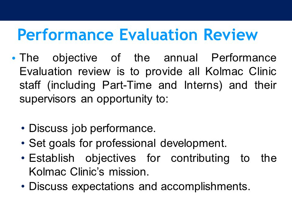 Performance Evaluation Review