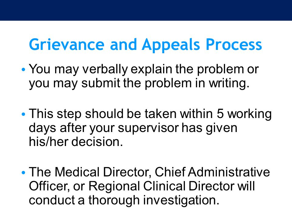 Grievance and Appeals Process