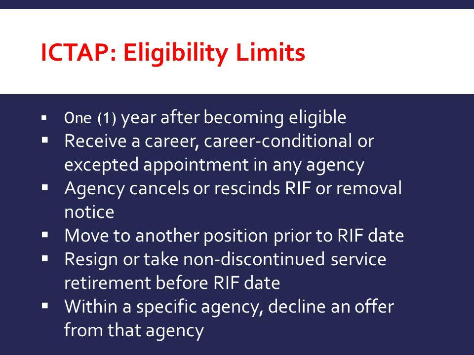 ICTAP: Eligibility Limits