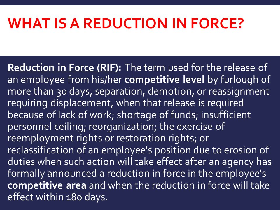 What is A Reduction in Force