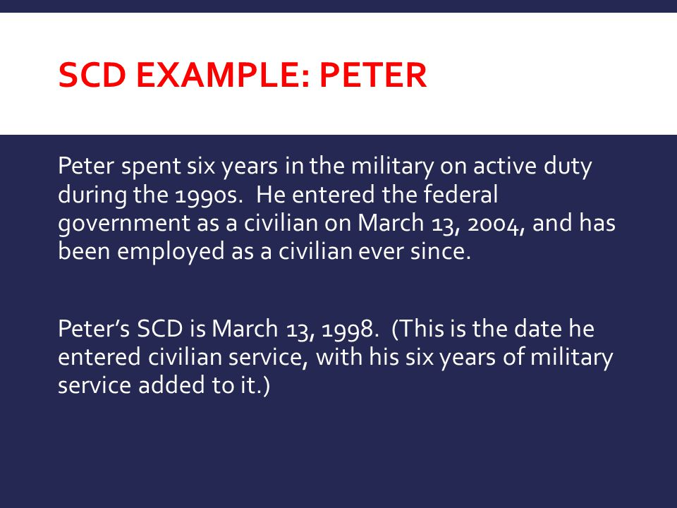SCD EXAMPLE: PETER