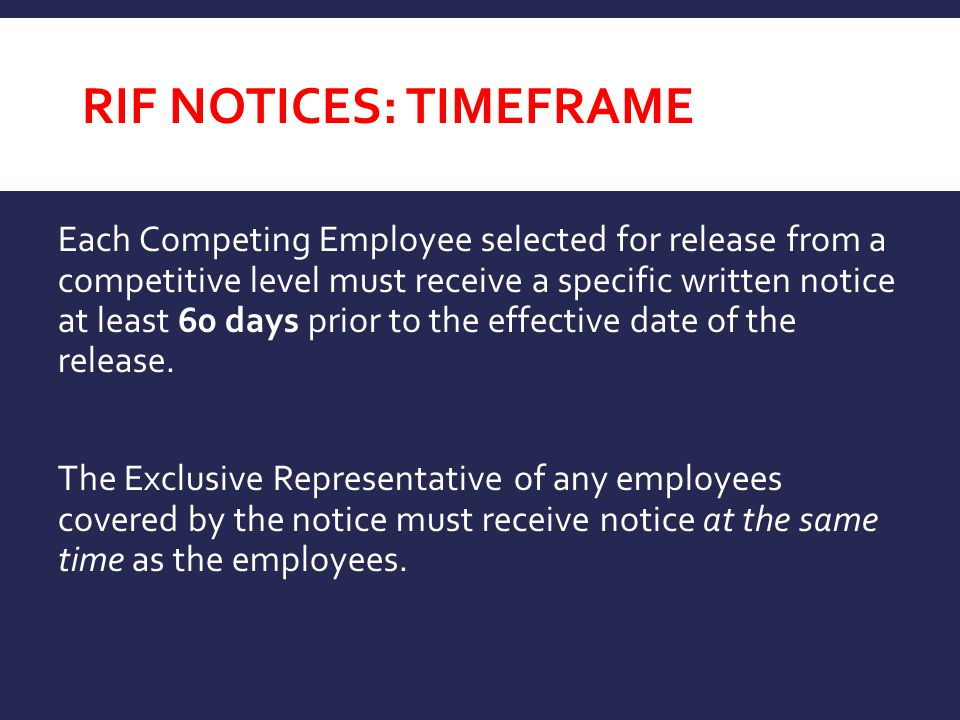 RIF Notices: TimeFRAME