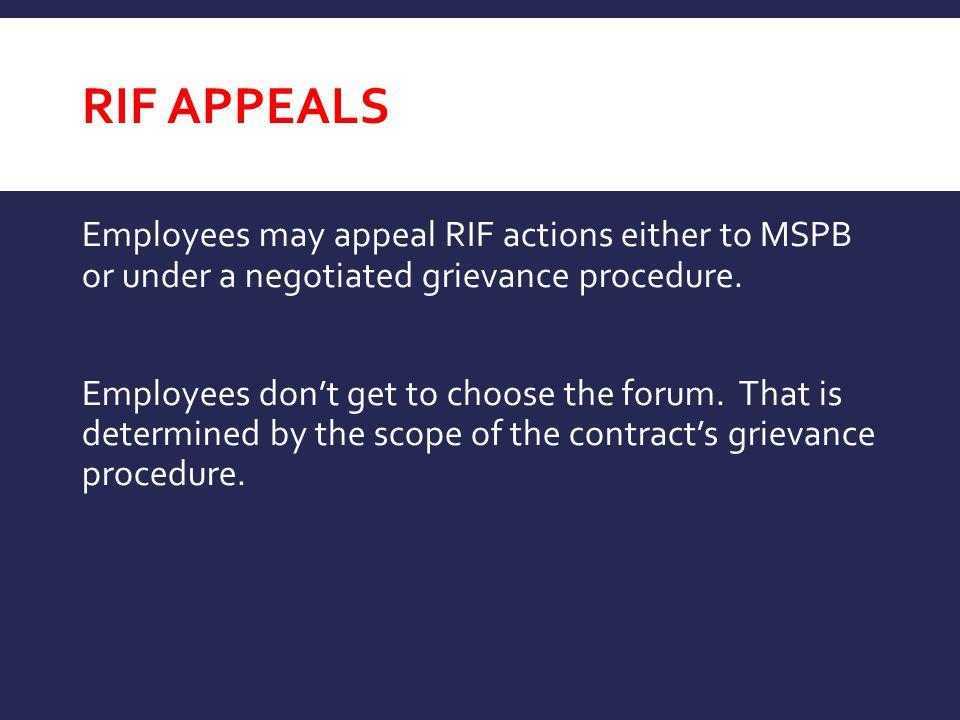 RIF appeals