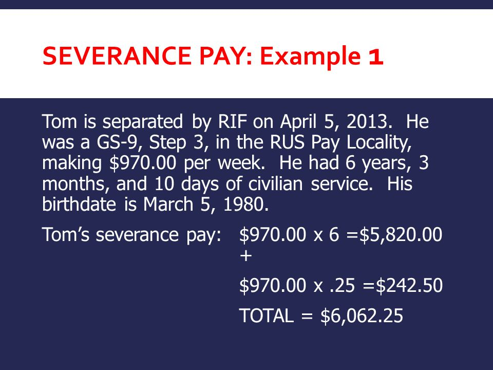 Severance pay: Example 1