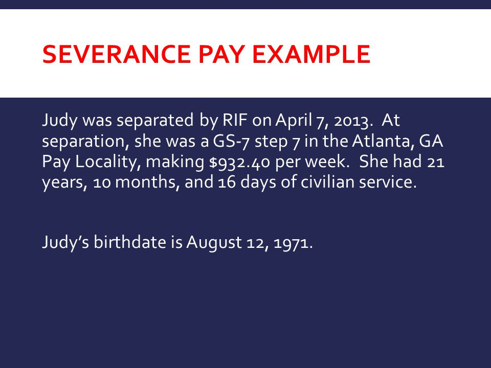 Severance Pay EXAMPLE
