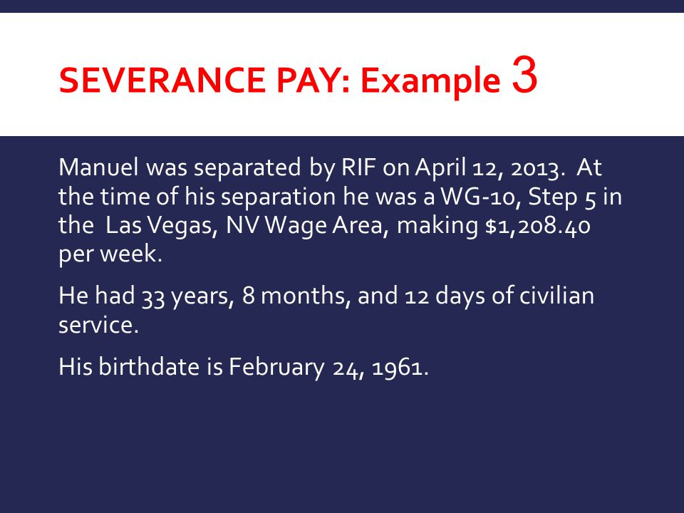 Severance Pay: Example 3
