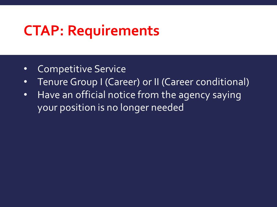CTAP: Requirements Competitive Service