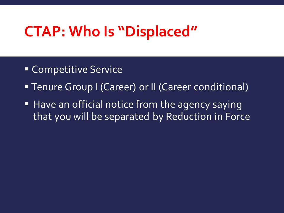 CTAP: Who Is Displaced