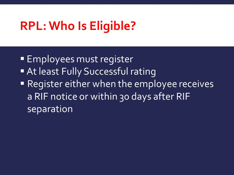 RPL: Who Is Eligible Employees must register