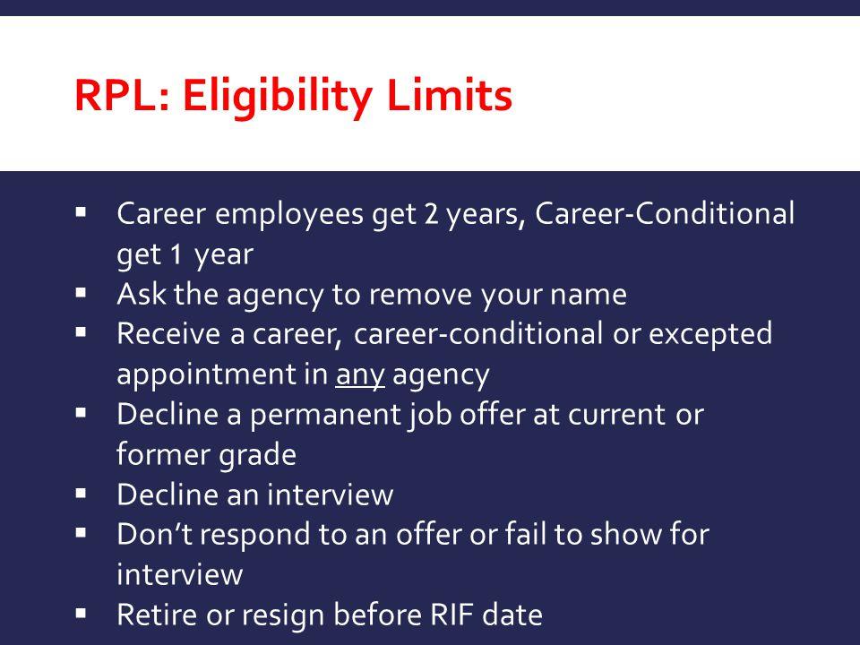 RPL: Eligibility Limits