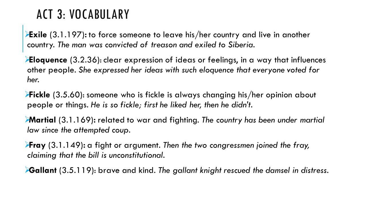 Act 3: Vocabulary