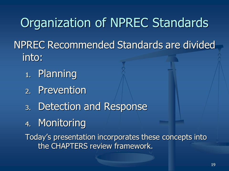 Organization of NPREC Standards