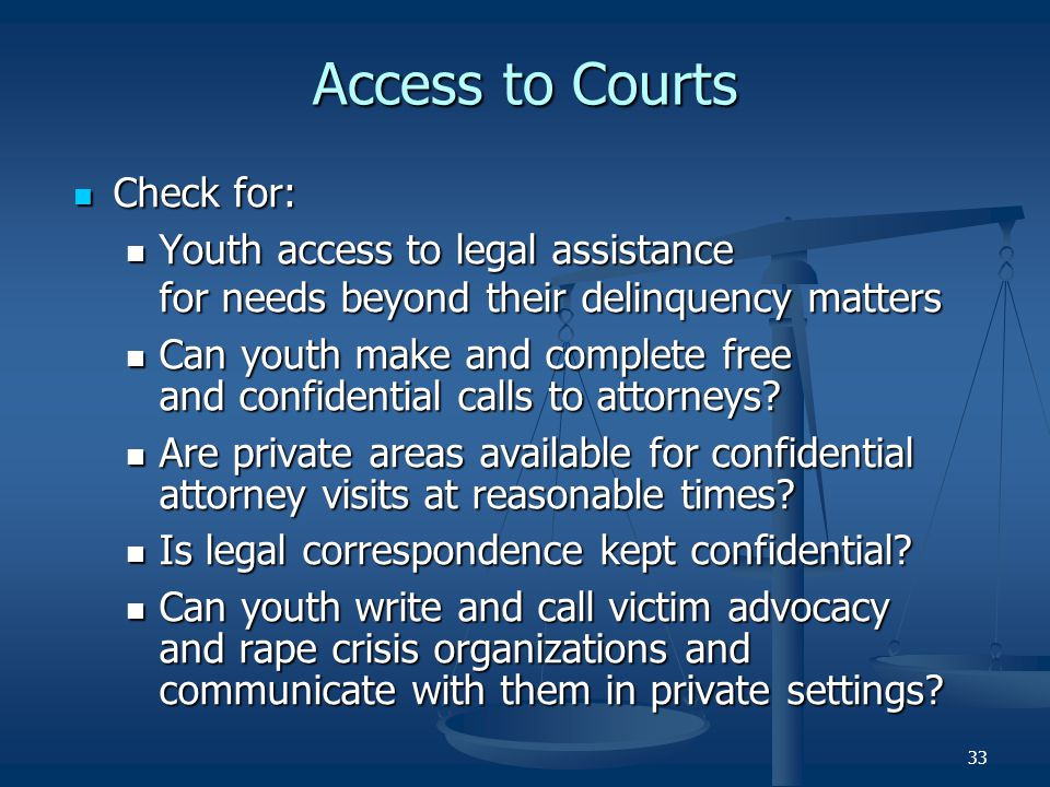 Access to Courts Check for: