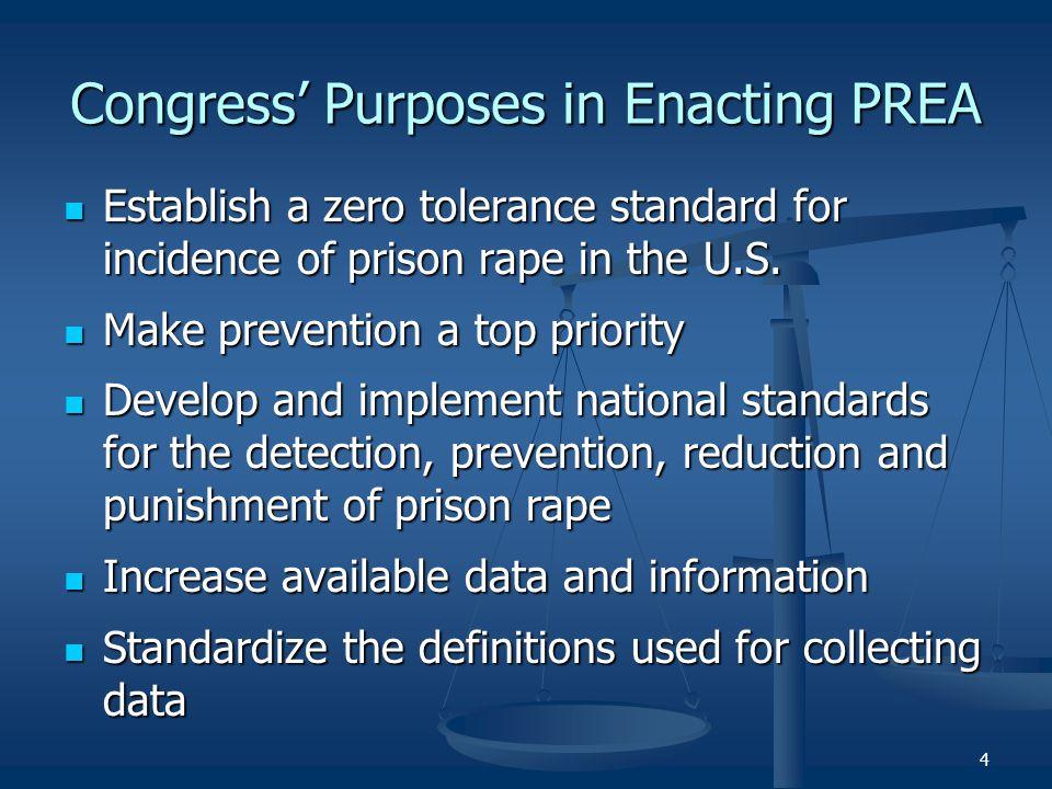 Congress' Purposes in Enacting PREA