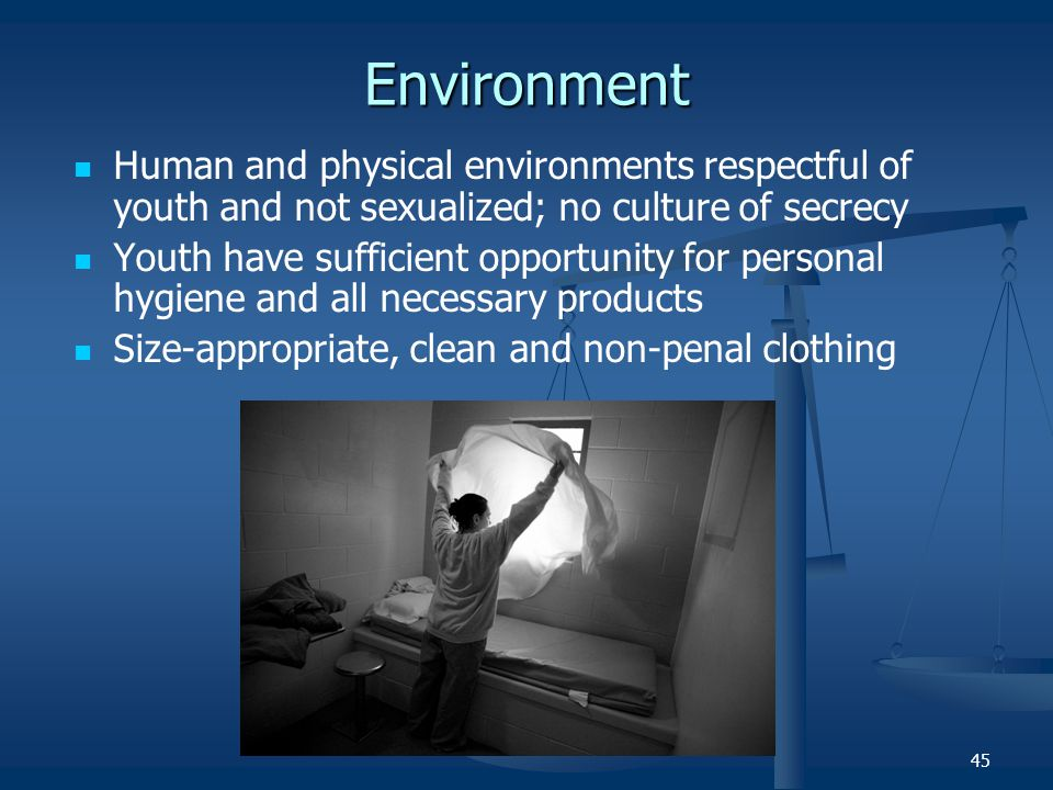 Environment Human and physical environments respectful of youth and not sexualized; no culture of secrecy.