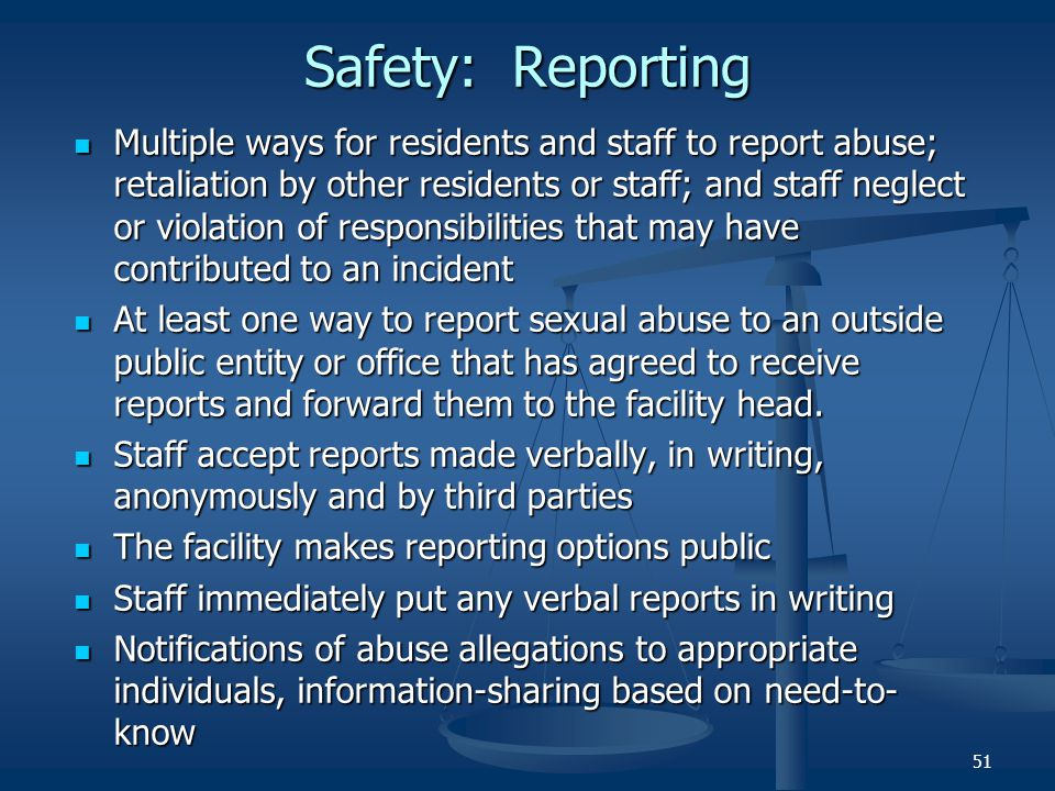 Safety: Reporting