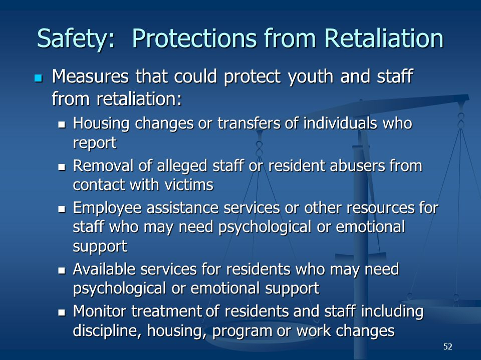 Safety: Protections from Retaliation