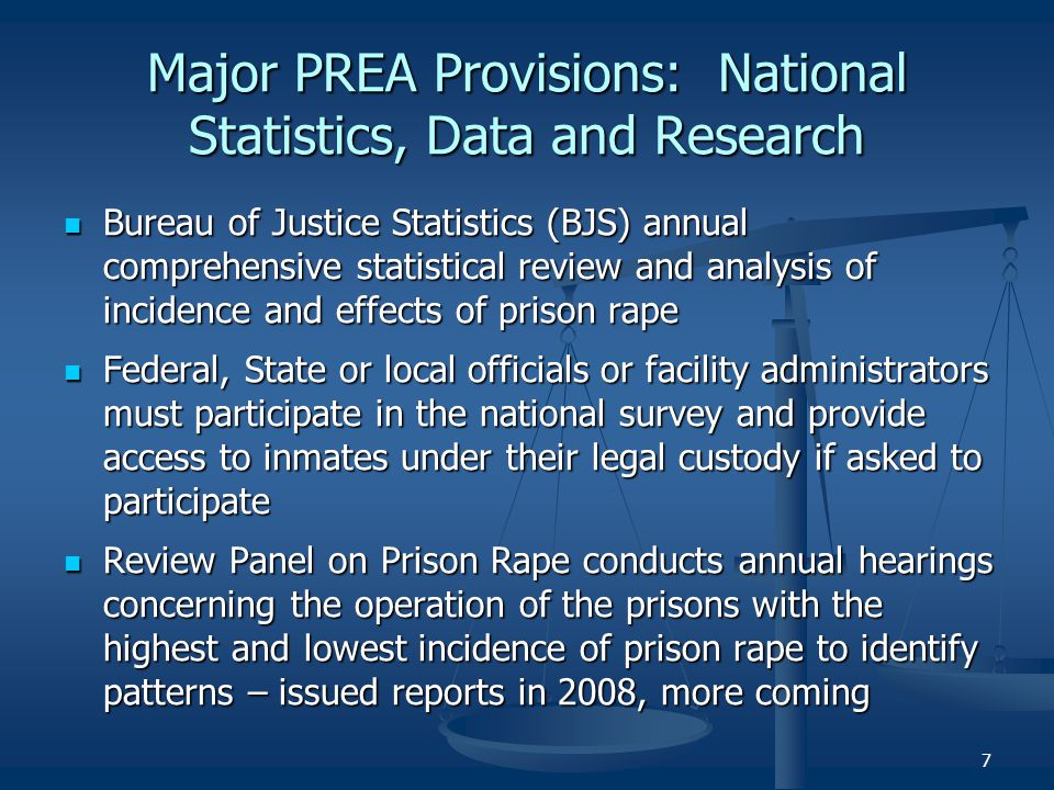 Major PREA Provisions: National Statistics, Data and Research