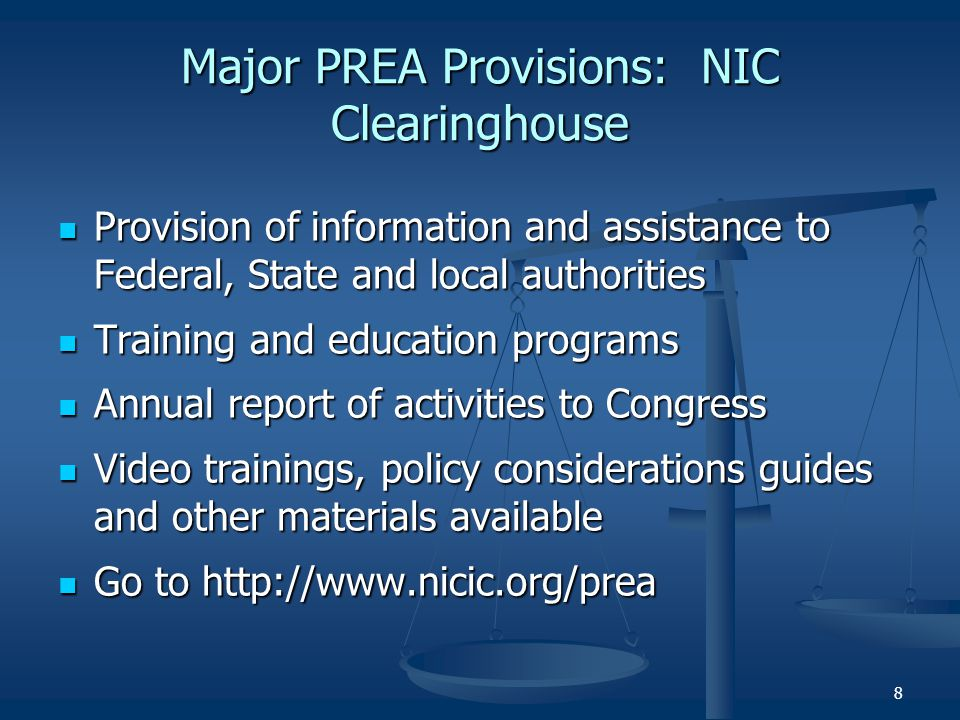 Major PREA Provisions: NIC Clearinghouse
