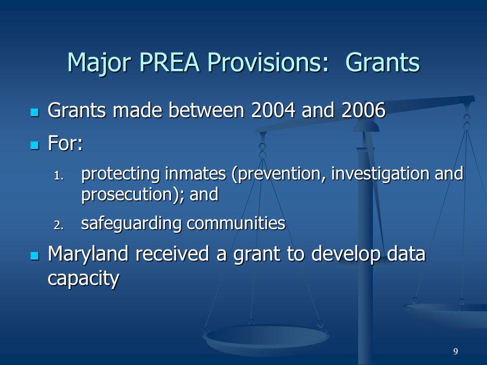 Major PREA Provisions: Grants