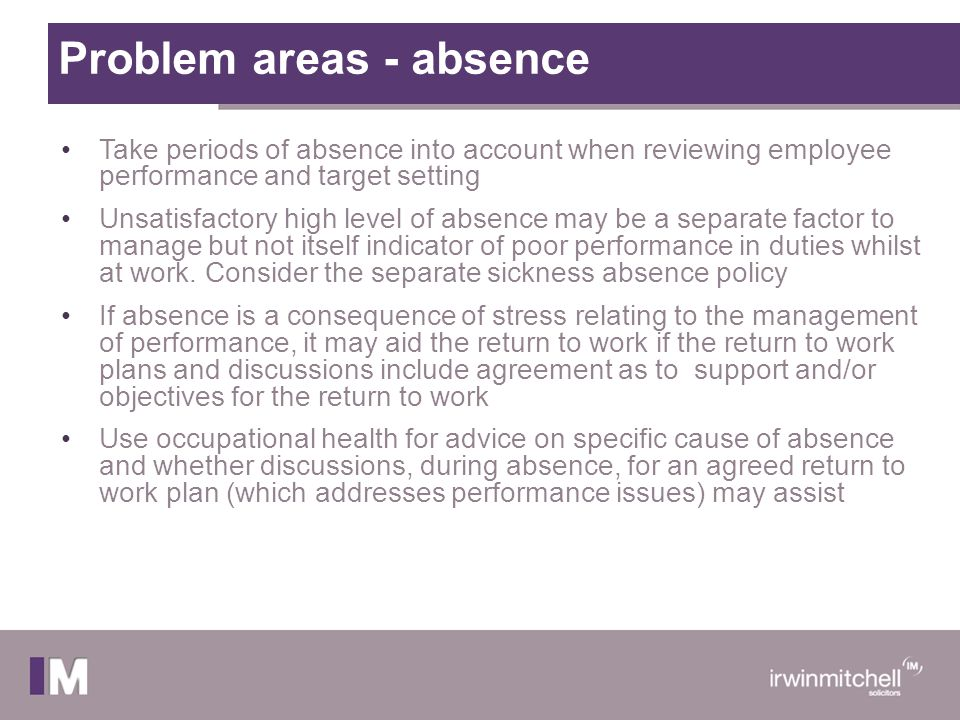 Problem areas - absence