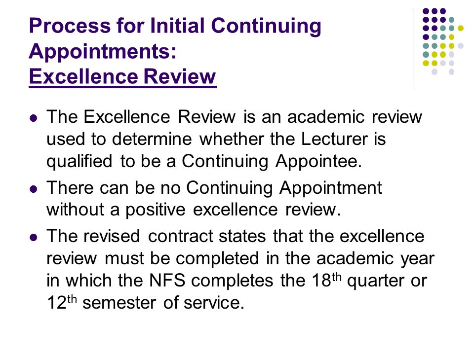 Initial Continuing Appointment: Excellence Review