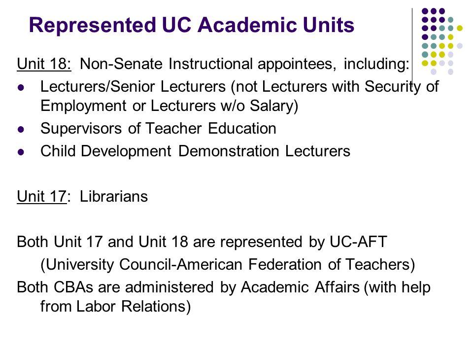 Represented Academic Units (cont'd)