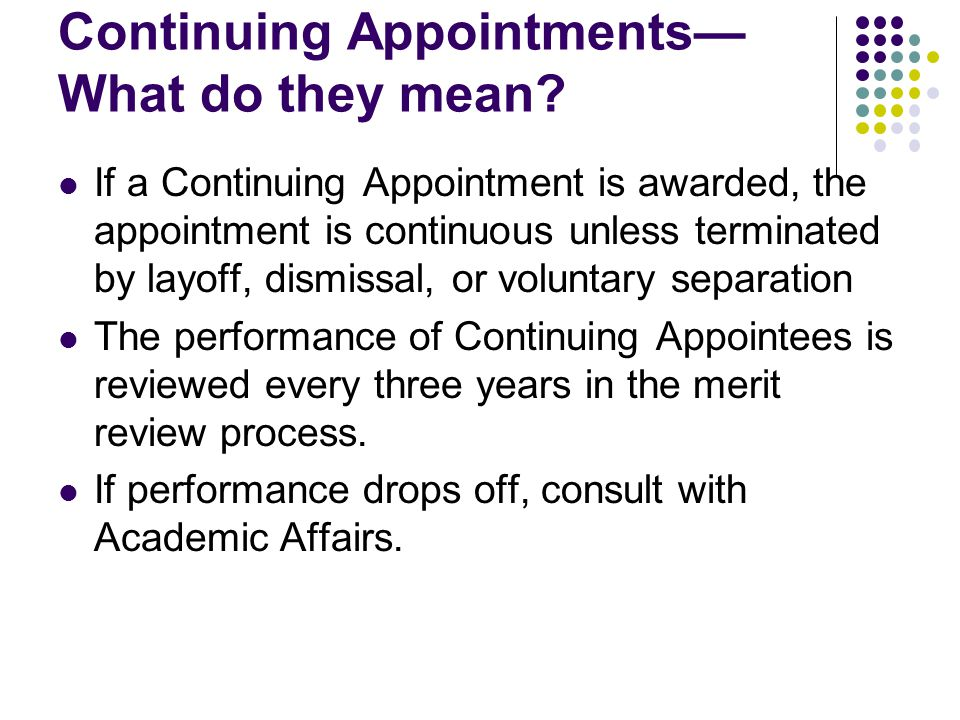 Establishing the Continuing Appointment Percentage