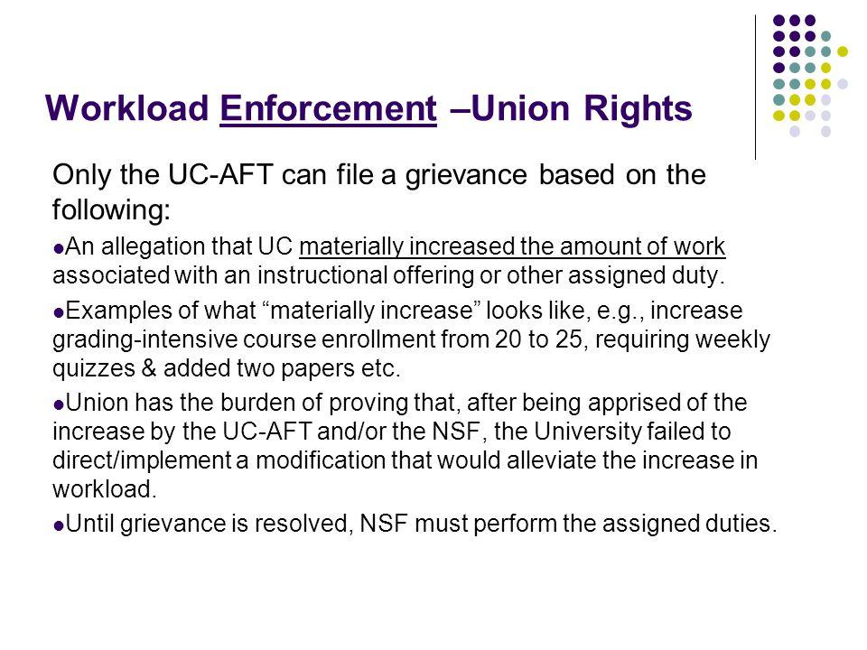 Workload Enforcement –Union Rights (cont'd)