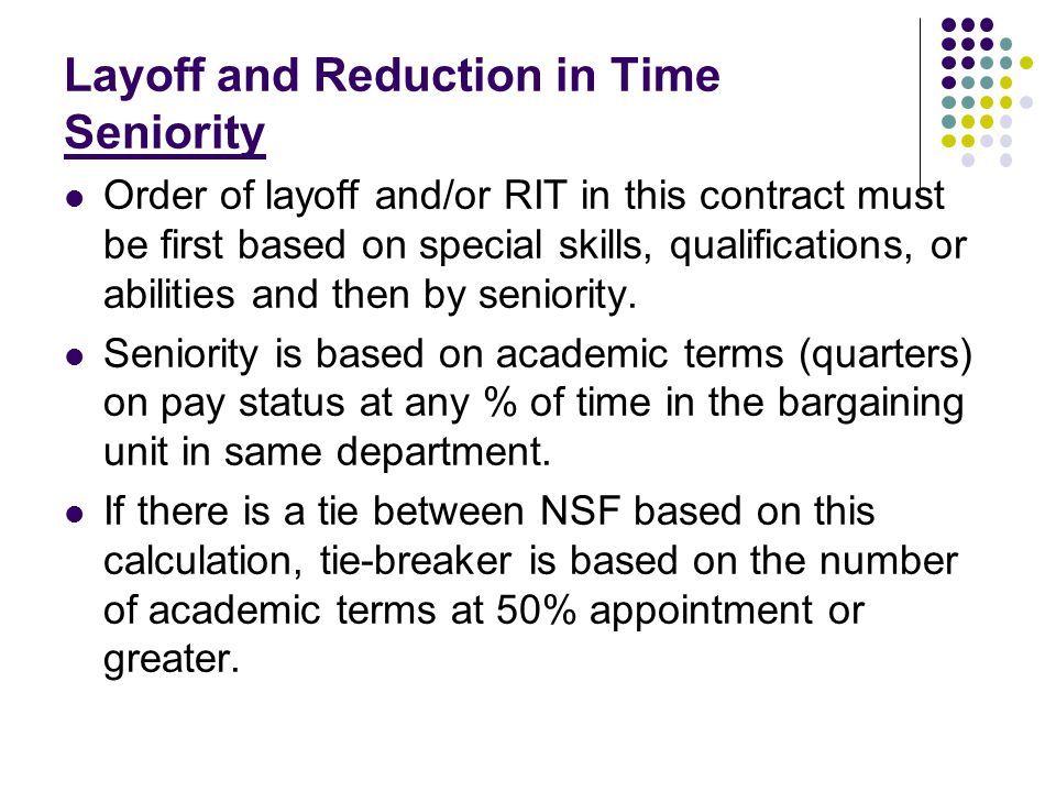 Layoff and Reduction in Time: Notice Requirement