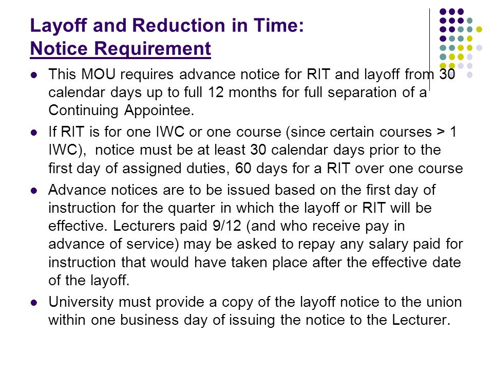 Layoff and Reduction in Time: Alternatives to Layoff